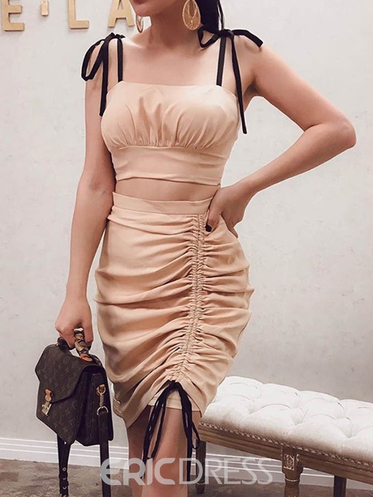 Ericdress Fashion Plain Ball Gown Strap Women's Suit Vest And Skirt Two Piece Sets