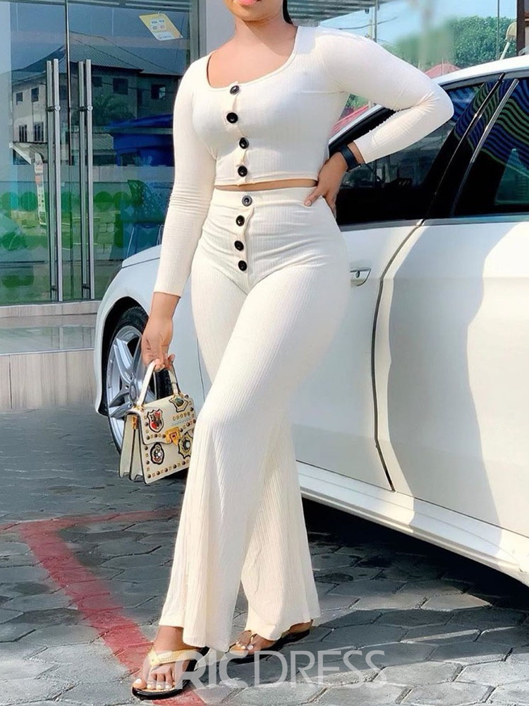 Ericdress Plain Single-Breasted Straight Women's Suit T-Shirt And Pants Two Piece Sets