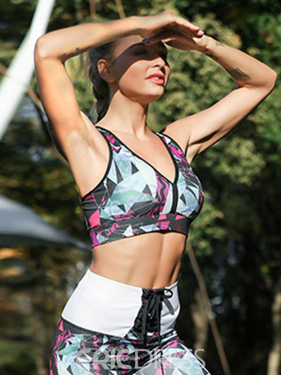 Ericdress Color Block Polyester Breathable Print Sports Bra
