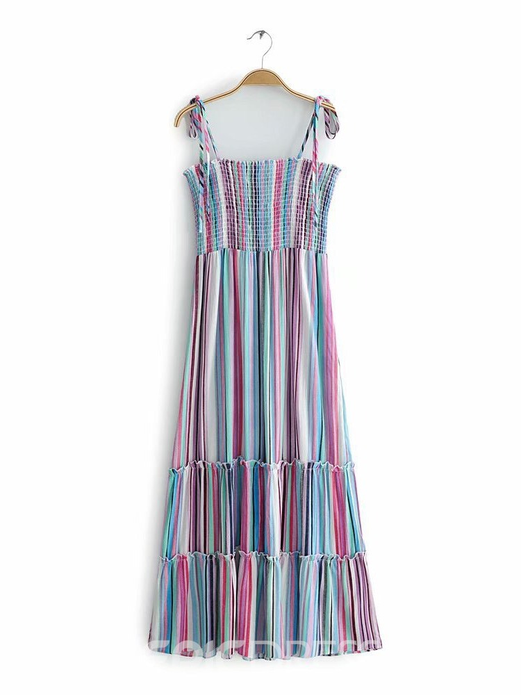 Ericdress Striped Bowknot Ankle-Length Sleeveless Pullover Expansion Dress