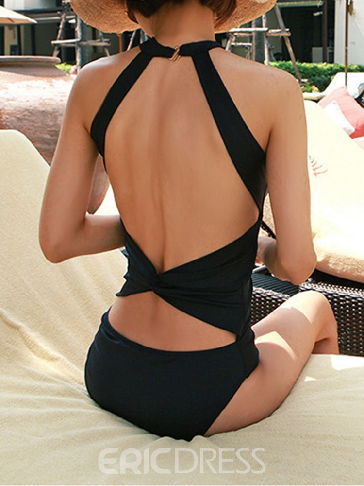 Ericdress One Piece Pleated Hollow Backless Sexy Swimwear
