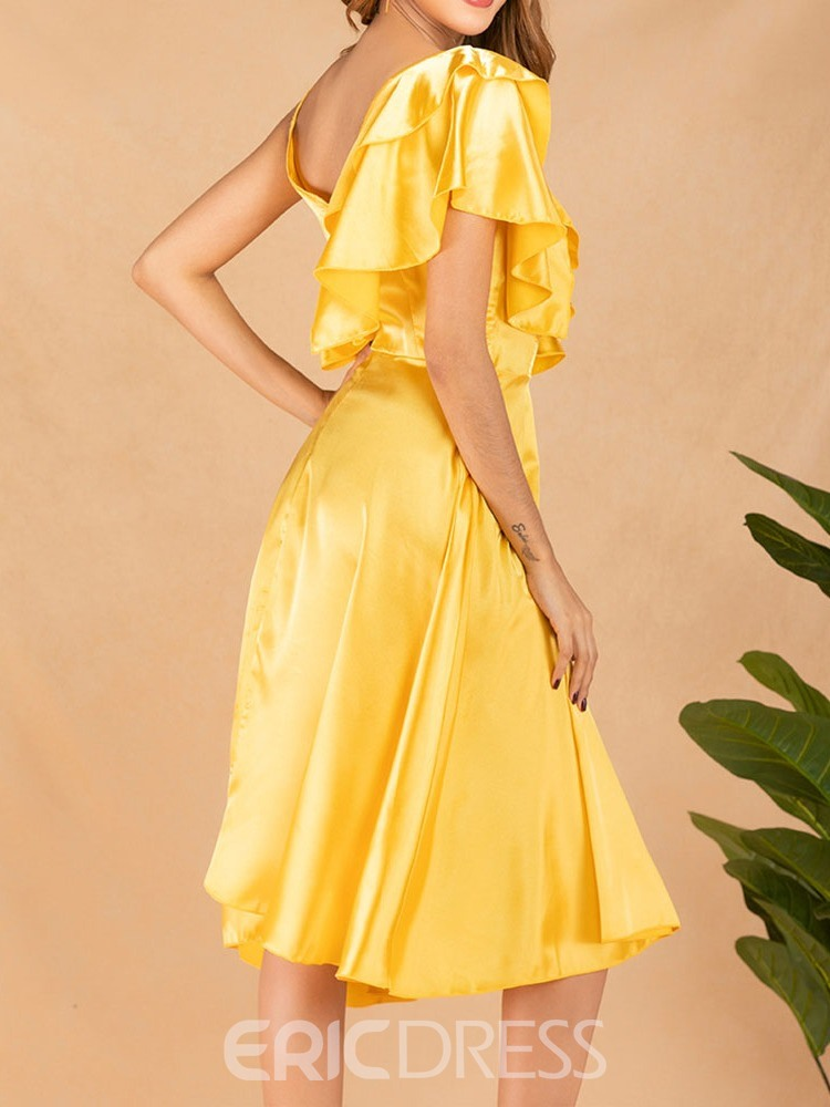 Ericdress A-Line Short Sleeve V-Neck Backless Sweet Single Yellow Dress