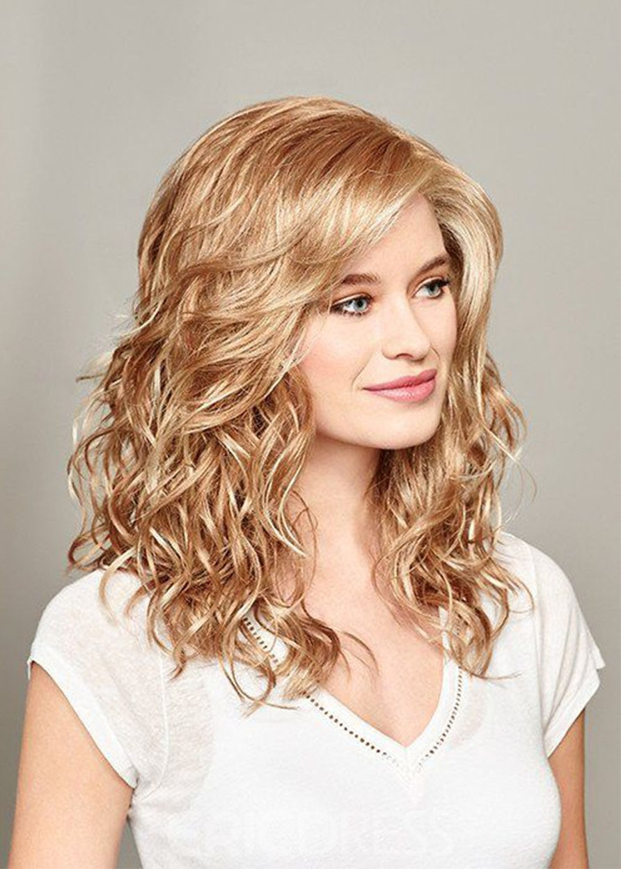Ericdress Women's Light Brown Blonde Loose Wave Human Hair Lace Front Cap Wigs 20Inches