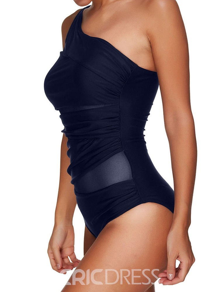 Ericdress Plain Patchwork Mesh Zipper Sexy One Piece Swimwear