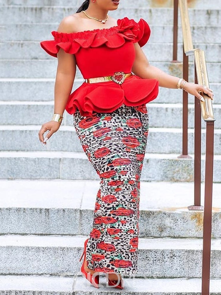 Ericdress African Fashion Off Shoulder Bodycon Ruffles Ankle-Length Dress