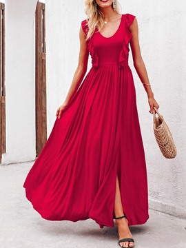 Ericdress Cap Sleeve Scoop Split Mid Waist Red Expansion Dress