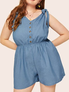 Ericdress Plus Size Bowknot Plain Button Wide Legs Loose Romper