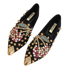 Ericdress Rhinestone Slip-On Pointed Toe Women's Flats
