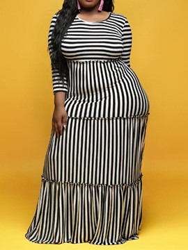 Ericdress Plus Size Striped Stringy Selvedge Round Neck Floor-Length Dress