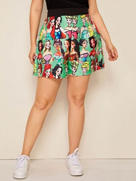 Ericdress Cartoon Wide Legs Print Loose High Waist Shorts