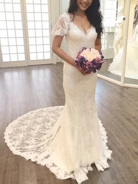 Ericdress Backless Short Sleeves Mermaid Lace Wedding Dress 2019