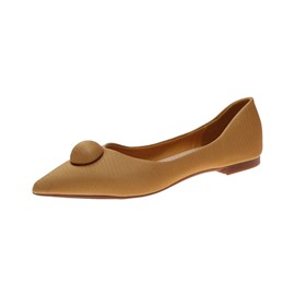 Ericdress PU Slip-On Pointed Toe Block Heel Women's Flats