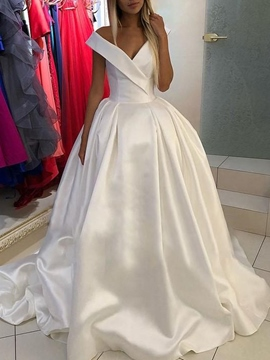 Ericdress V-Neck Ball Gown Court Cap Sleeves Hall Wedding Dress 2019