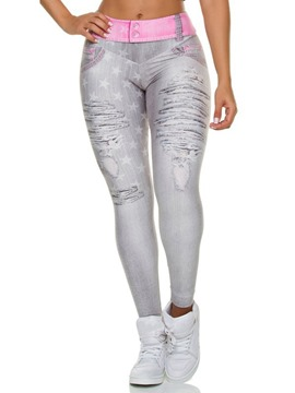 Ericdress Shredded Jeans Print High Waist Shaping Women's Leggings