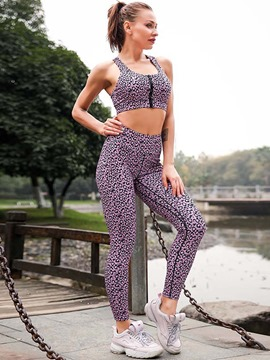 Ericdress Women's Print Quick Dry Leopard Zipper Running Workout Set
