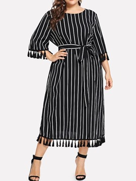 ericdress plus size gestreifte quaste rundhals hohe taille casual dress