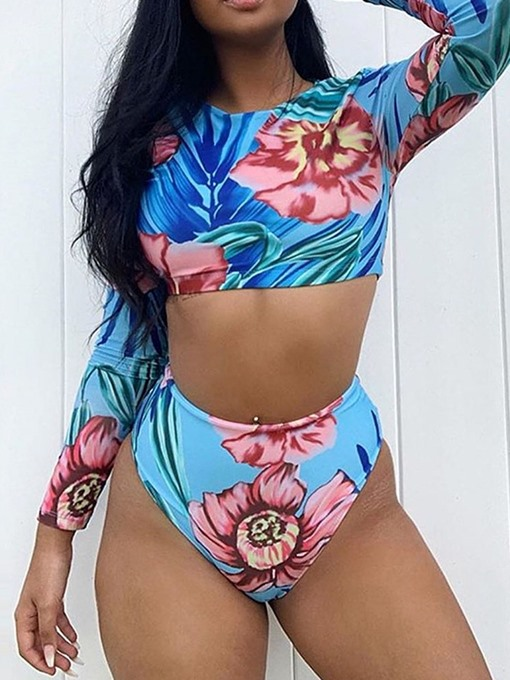 Ericdress One Piece Floral Color Block Stretchy Sexy Swimsuit