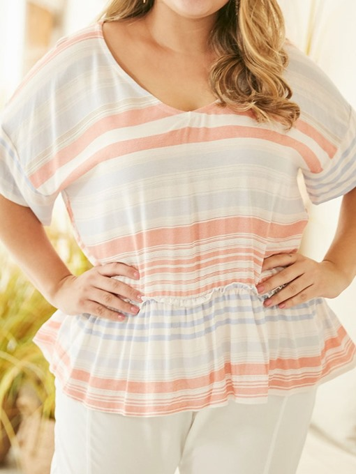Ericdress Plus Size Color Block Short Sleeve Mid-Length Casual T-Shirt