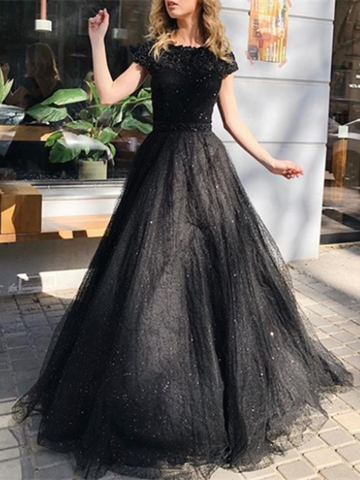 Ericdress Floor-Length Appliques Sweep Train Short Sleeves Evening Dress 2019