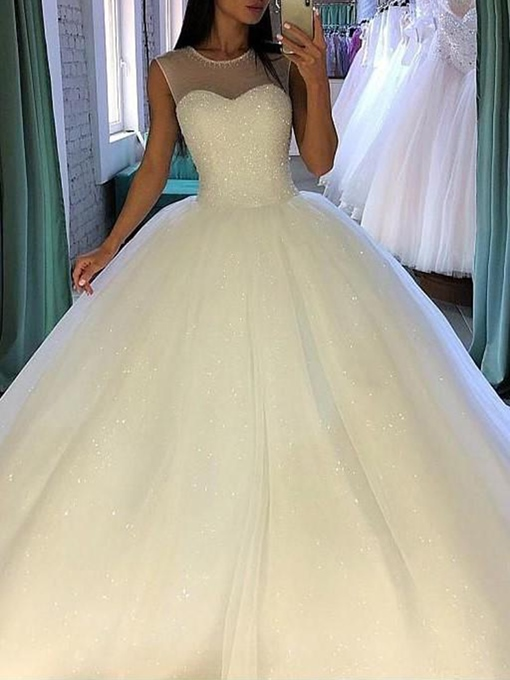 Ericdress Sheer Neck Beading Sequins Ball Gown Wedding Dress 2019