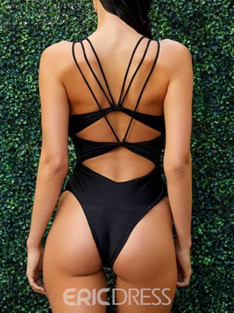Ericdress One Piece Hollow Lace-Up Sexy Swimsuit