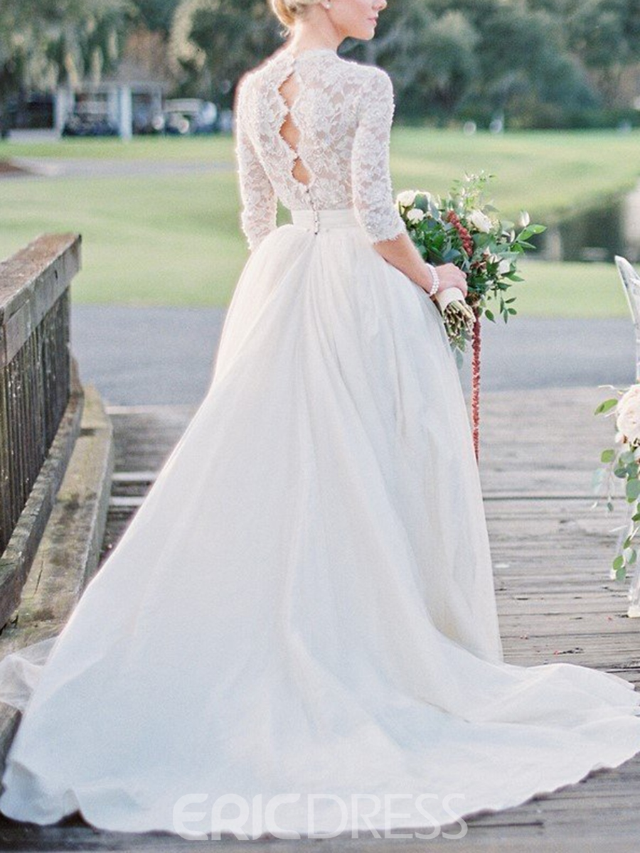 Ericdress Half Sleeves Lace Outdoor Wedding Dress