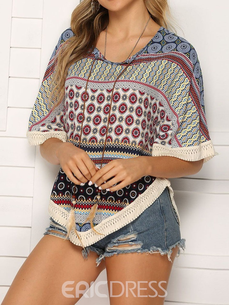 Ericdress Color Block Batwing Sleeve Print Casual T-Shirt