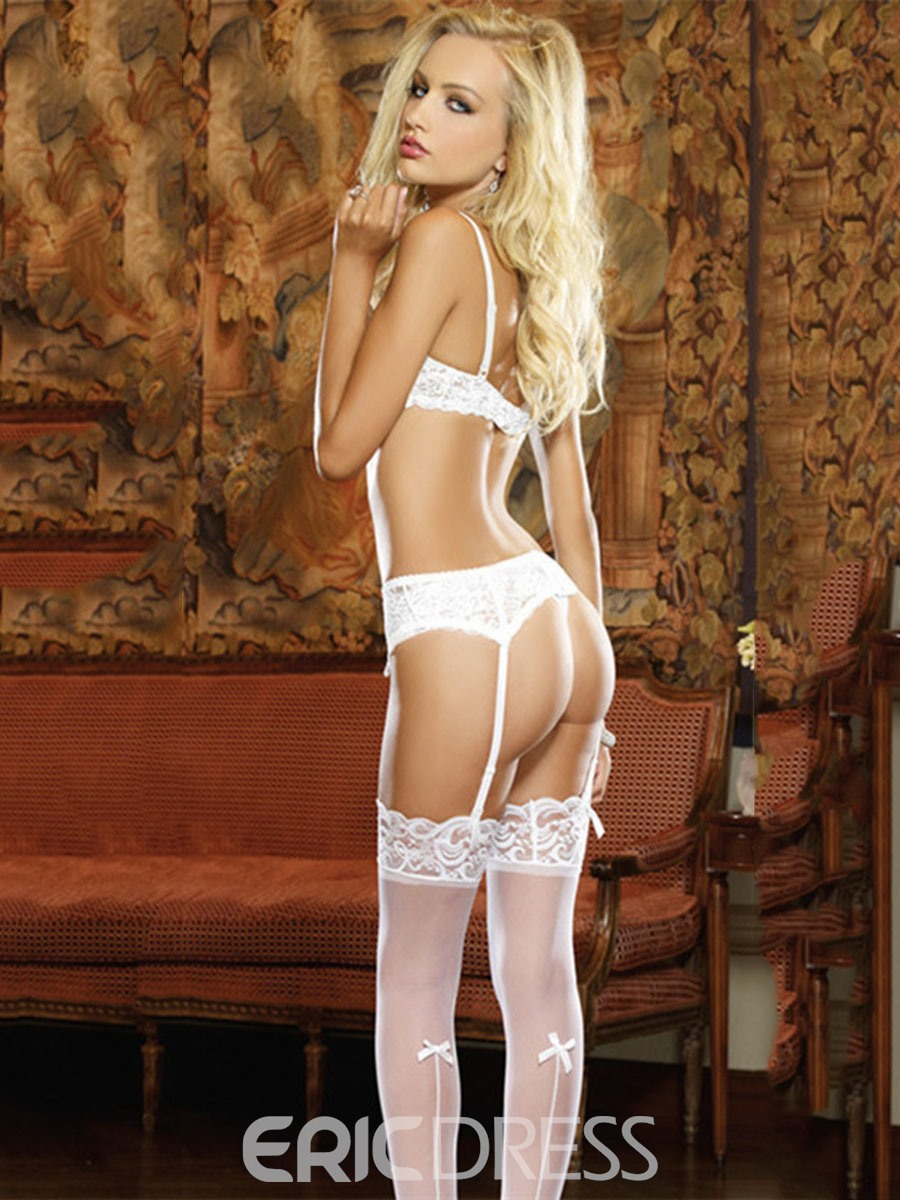 Ericdress Bowknot Lace Sexy Bra Panty Garter Belt 3 Pieces