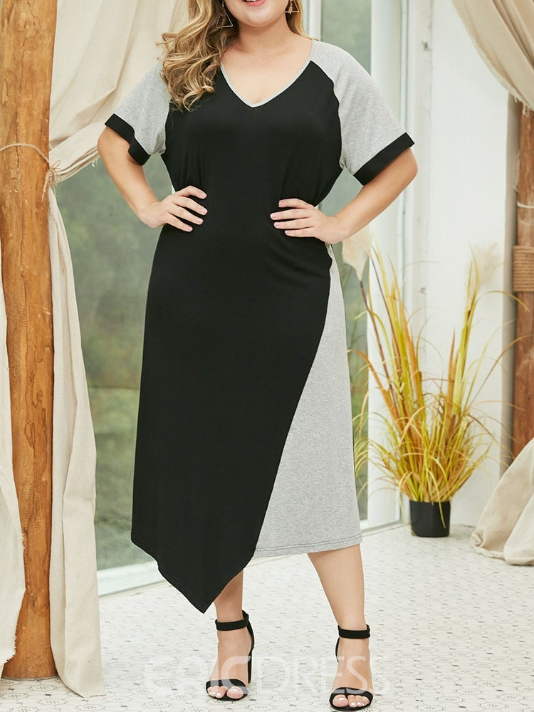 Ericdress Plus Size Color Block Casual Asymmetrical Fashion Dress