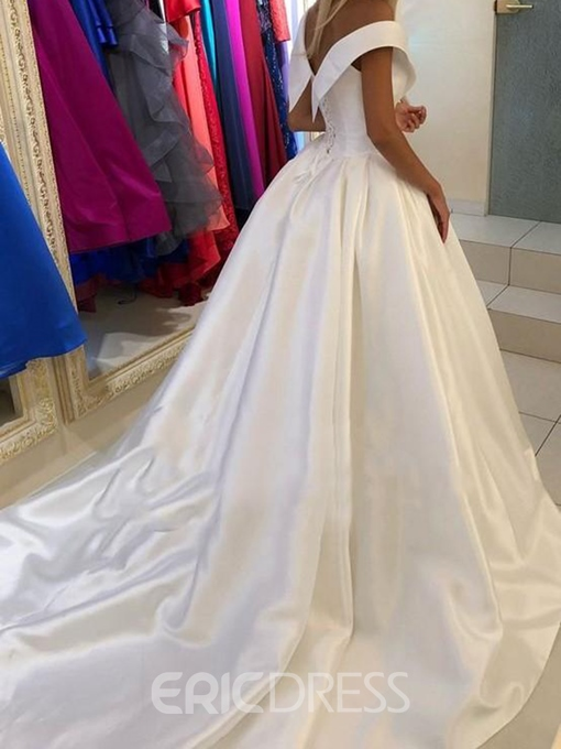 Ericdress V-Neck Ball Gown Court Cap Sleeves Hall Wedding Dress