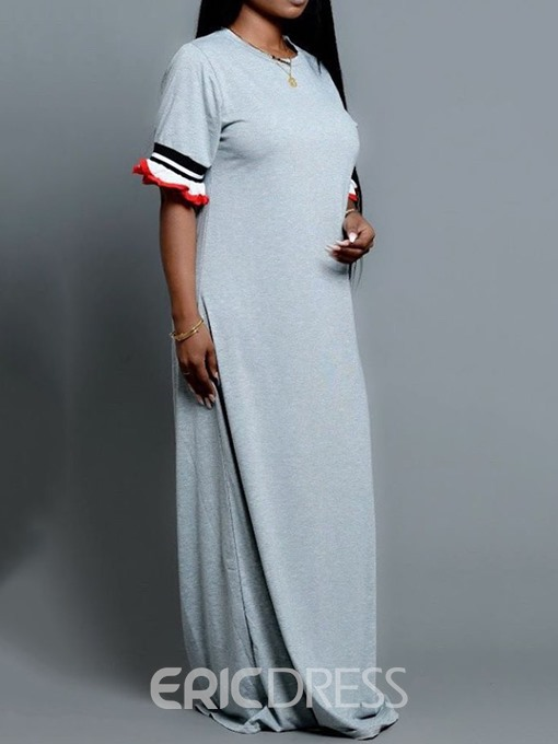 Ericdress Floor-Length Round Neck Half Sleeve Casual Straight Dress
