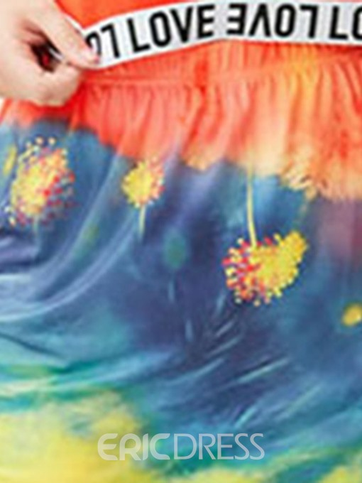Ericdress Plus Size Tie-Dye Casual Summer T-Shirt and Skirt Women's Two Piece Sets