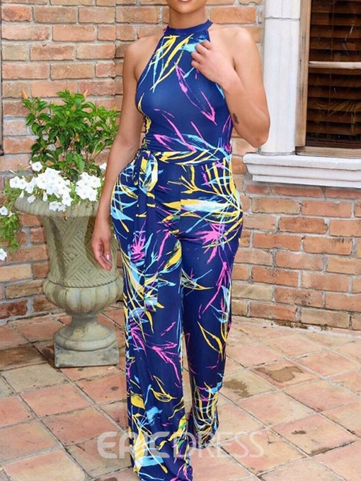 Ericdress Fashion Full Length Print Straight Jumpsuit