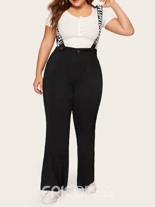 Ericdress Plus Size Full Length Print Letter Straight High Waist Jumpsuit
