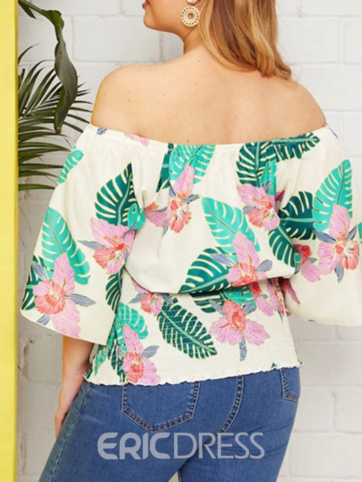Ericdress Plus Size Off Shoulder Print Flare Sleeve Fashion Blouse