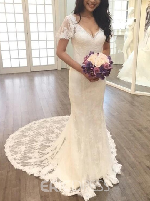 Ericdress Backless Short Sleeves Mermaid Lace Wedding Dress
