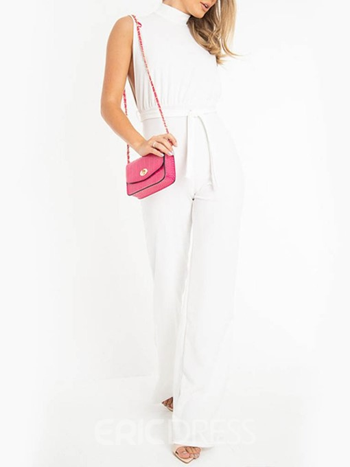 Ericdress Plain White Lace-Up Skinny Jumpsuit