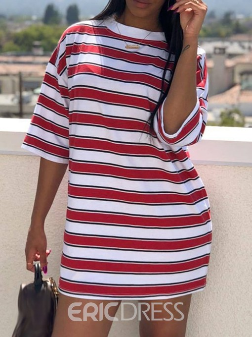 Ericdress Stripe Round Neck Mid-Length Casual T-Shirt
