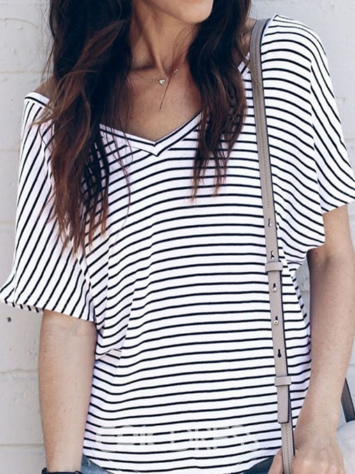 Ericdress Stripe Standard V-Neck Short Sleeve Casual T-Shirt
