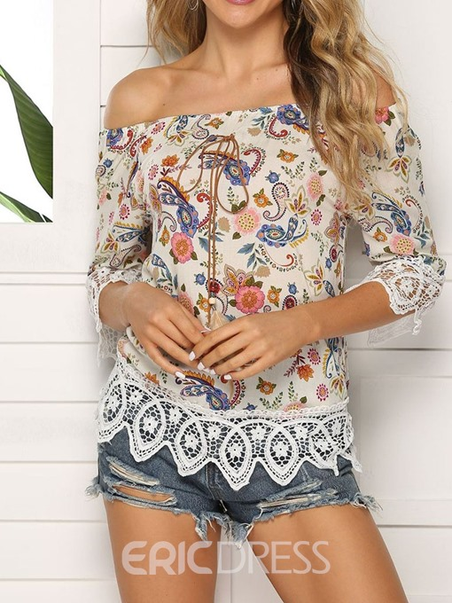 Ericdress Color Block Off Shoulder Patchwork Lace Fashion T-Shirt