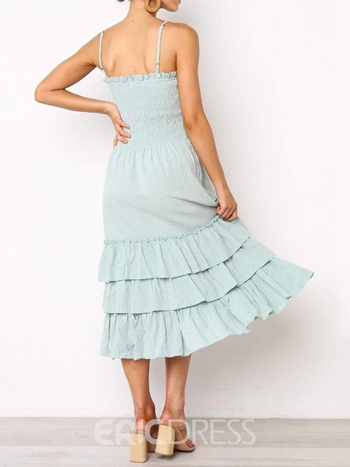 Ericdress Pleated Plain Mid-Calf Sleeveless Pullover Mid Waist Layered Dress
