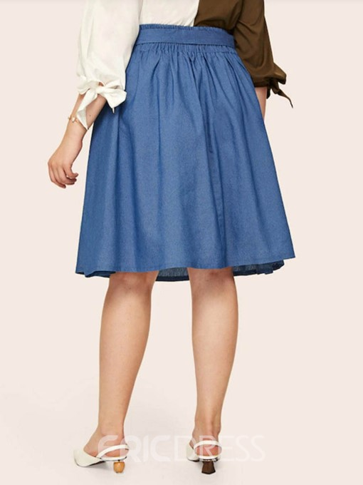 Ericdress Plus Size A-Line Plain Knee-Length Date Night High Waist Skirt