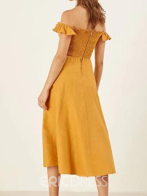 Ericdress Plus Size Off Shoulder A-Line Yellow Stringy Selvedge Summer Dress