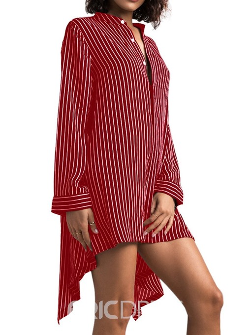 Ericdress Asymmetric Button Stripe Stand Collar Fashion Long Blouse