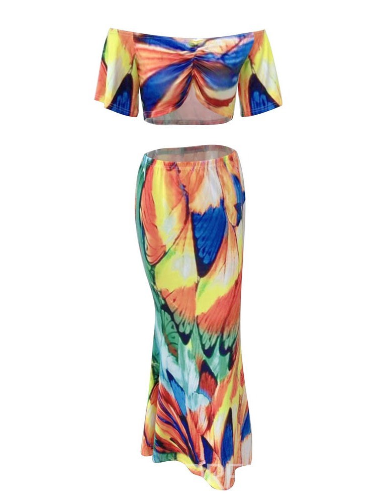 Ericdress Color Block Fashion Off Shoulder Bodycon T-Shirt And Skirt Two Piece Sets