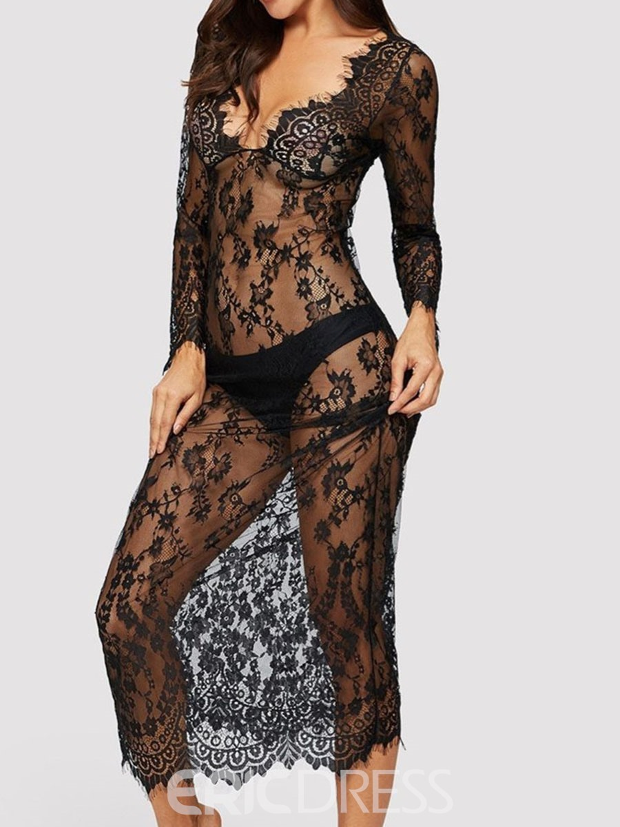 Ericdress V-Neck See-Through Lace Long Sleeve Sexy Dresse