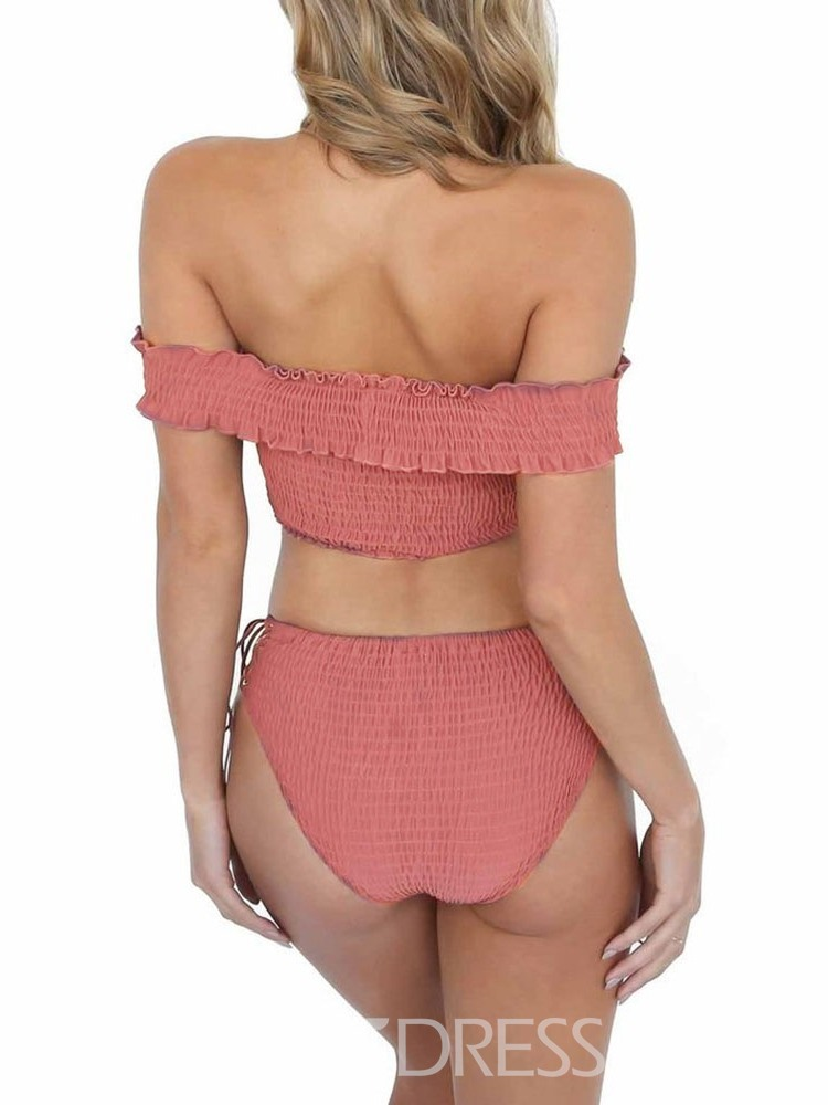 Ericdress Lace-Up Off-Shoulder Pleated Sexy Swimsuit