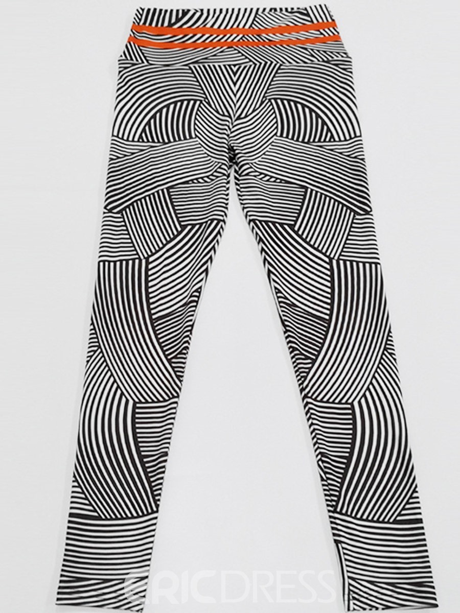 Ericdress Stripe Print Nylon High Waist Women's Leggings