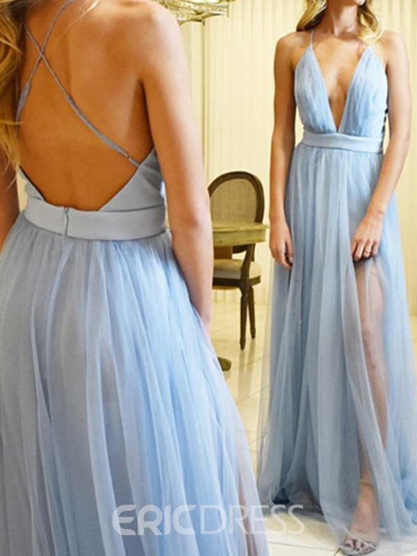 Ericdress Sleeveless Spaghetti Straps A-Line Floor-Length Prom Dress