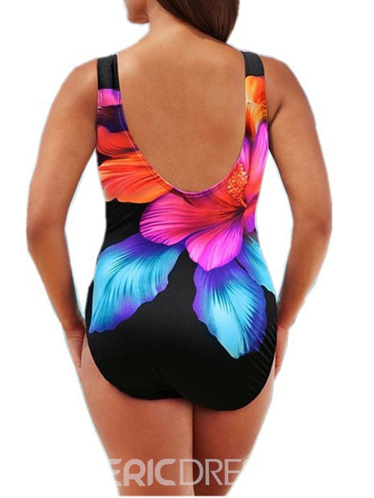 Ericdress Plus Size Floral One Piece Beach Look Fashion Swimwear